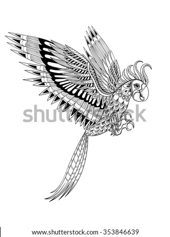 Hand drawn artistically ornamental tribal Parrot, bird totem for adult anti stress Coloring Page in zentangle style, illustration of bird in doodle design for print. Vector sketch A4 size. - stock vector