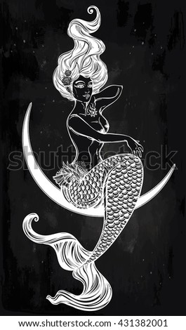 Hand drawn artwork of beautiful mermaid sitting in the moon. Sea, fantasy, spirituality, mythology, tattoo art, coloring books. Isolated vector illustration.