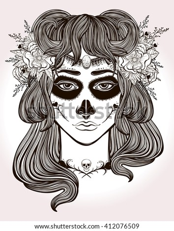 Hand drawn artwork of Mexican Day-of-the-dead Girl . Coloring book, tattoo art. Isolated vector illustration. - stock vector
