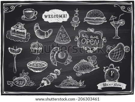 Hand drawn assorted food and drinks graphic symbols set  on a chalkboard background. Eps10  - stock vector