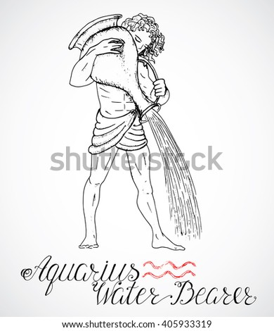 Hand drawn astrological zodiac sign Water Bearer or Aquarius. Line art vector illustration of engraved horoscope symbol. Man with pitcher or jar. Doodle drawing and sketch with calligraphic lettering - stock vector