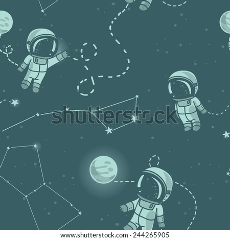 hand drawn astronauts with constellations and planets in space, starry background, cosmic seamless pattern, vector illustration - stock vector