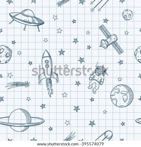 Hand drawn astronomy doodle seamless pattern.