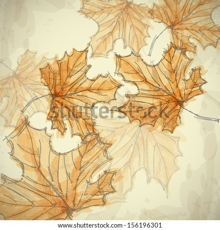 Hand Drawn Autumn Background. Vector Illustration. Eps 10. - stock vector