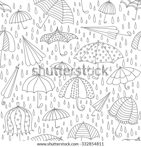 Hand drawn autumn seamless pattern with cute umbrellas