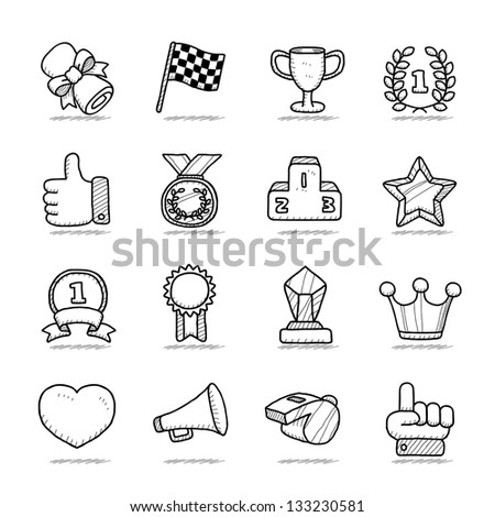Hand drawn award icon set - stock vector