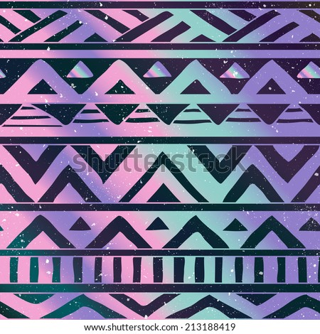 Hand Drawn Aztec Tribal Seamless Background Pattern on Cosmic Background - stock vector
