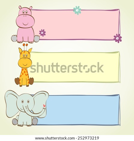 hand drawn baby banners with cartoon animals