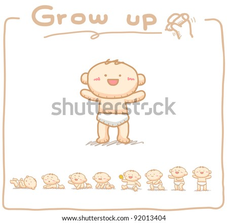Hand drawn Baby grow up with 8 steps. - stock vector