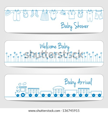 Hand drawn baby shower banners, doodle style - stock vector