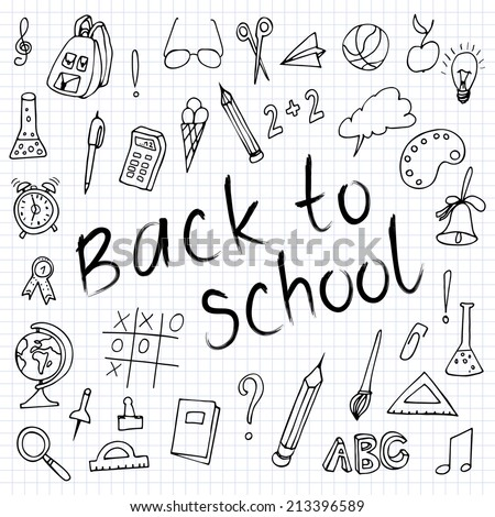 Hand drawn back to school doodles.  Paper Background. Vector illustration. Hand drawing school items on a sheet of exercise book. - stock vector