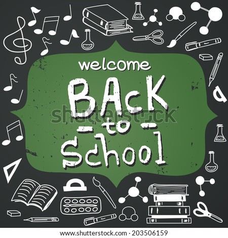 Hand drawn back to school doodles with school stationary. Design elements, hand drawn lettering and figure frame for the text on chalkboard background. - stock vector
