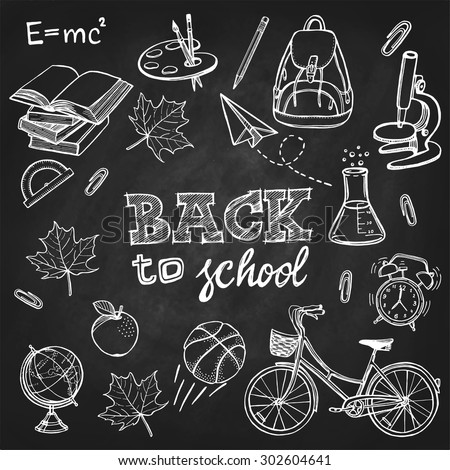 Hand drawn back to school set. Books, backpack, bicycle, maple leaf, basketball, pencil, globe, apple, palette, brushes, paper plane, alarm clock, clip, microscope, lab flask. Chalkboard background - stock vector