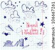 Hand drawn Back to School sketch. Notebook doodles with lettering, paper boat, paper plane, clouds, stars, hearts and books. Vector Illustration. Design elements on squared notebook paper. Background. - stock vector