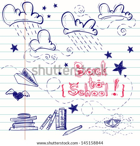 Hand drawn back to school sketch. Notebook doodles with lettering, paper boat, paper plane, clouds, stars, hearts and books. Vector Illustration. Design elements on lined notebook paper. Background.