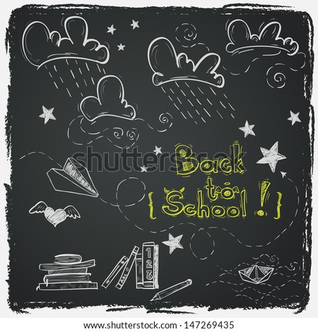 Hand drawn Back to School sketch. Notebook doodles with lettering, paper boat, paper plane, clouds, stars, hearts and books. Design elements on chalkboard background. - stock vector