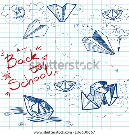 Hand drawn Back to School sketch on squared notebook paper. Notebook doodles with lettering, paper boats and paper planes. Vector Illustration. Background