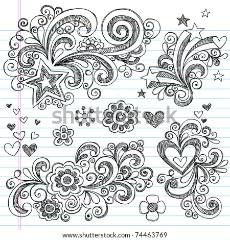Hand-Drawn Back to School Sketchy Notebook Doodle Design Elements with Swirls, Flowers, Hearts and Stars Vector Illustration on Lined Sketchbook Paper Background - stock vector