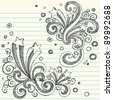 Hand-Drawn Back to School Starbursts with Swirls and Bubbles- Sketchy Notebook Doodles Vector Illustration Design Elements on Lined Sketchbook Paper Background - stock vector