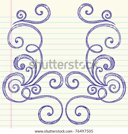 Hand-Drawn Back to School Swirly Sketchy Notebook Doodles Vector Illustration Design Elements on Lined Sketchbook Paper Background