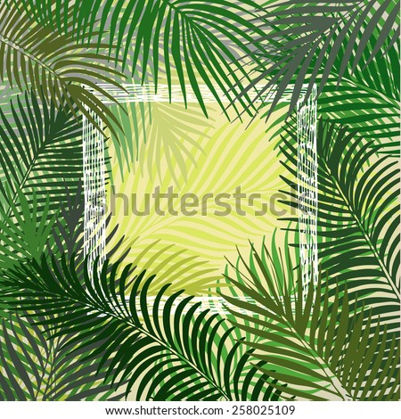 Hand drawn background of tropical palm leaves. Vector background. - stock vector