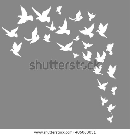 Hand drawn background with birds. Template for banners, cards, invitations.