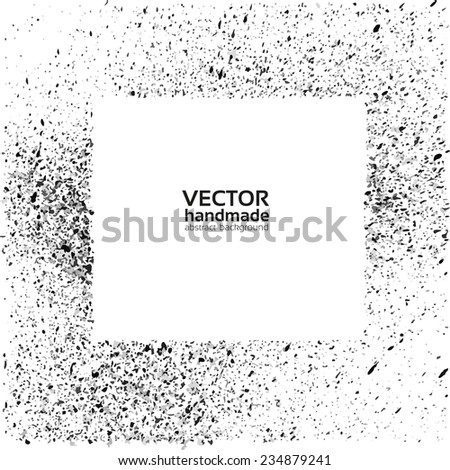 Hand-drawn background with black spray on white background - stock vector
