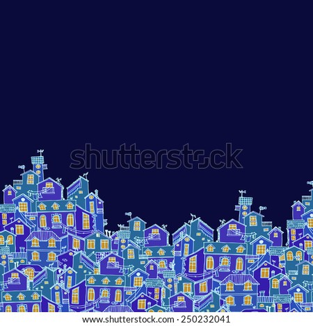 Hand-drawn background with colorful doodle houses. Cartoon hand drawn vector. - stock vector