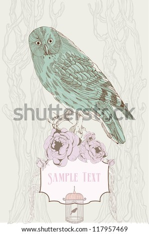 hand drawn background with owl and roses - stock vector