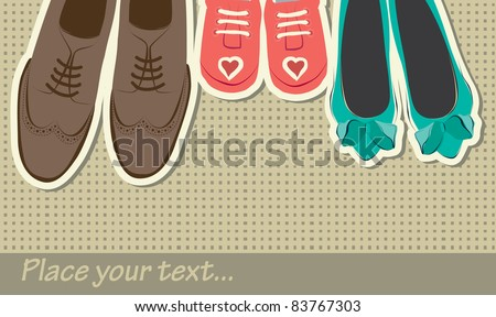 hand drawn background with shoes - stock vector