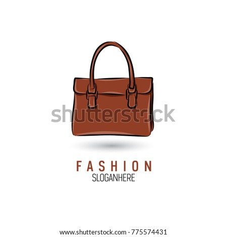 handdrawn bag icon logo template handbag stock vector 775574431