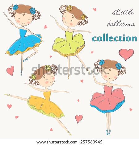 Hand drawn ballerina set. Vector illustration. - stock vector