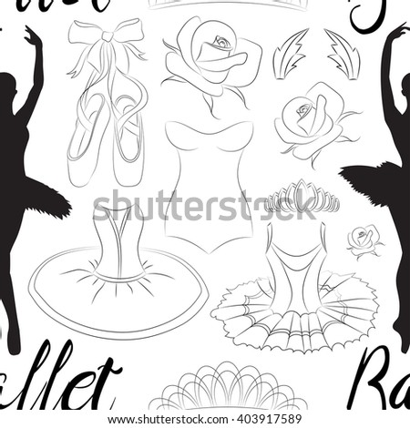 Hand drawn Ballet pattern with ballet shoes, ballet tutu, ballerina, applause. Vector ballerina isolated. - stock vector