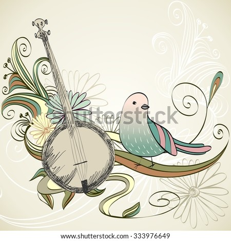 Hand drawn Banjo on a light background. - stock vector