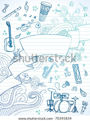 Hand drawn banner and instruments on lined paper. - stock vector