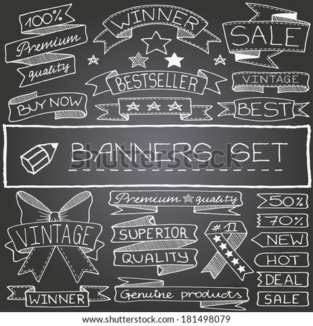 Hand drawn banner and tag icons with captions and stars on chalkboard. Vector illustration.  - stock vector