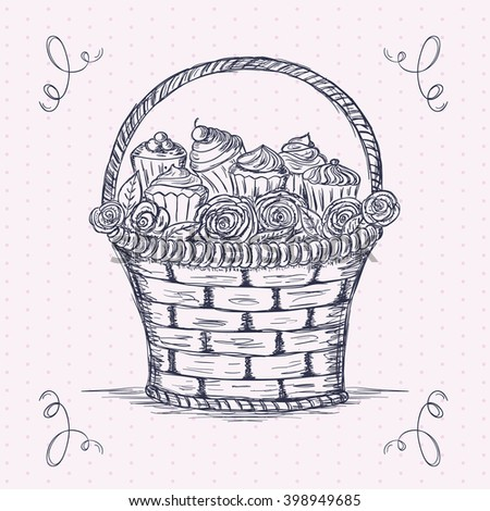Hand drawn basket full of roses and cupcakes - stock vector
