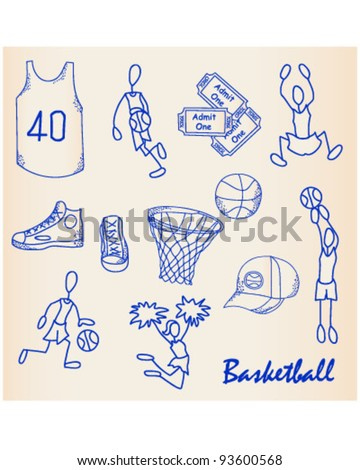 Hand Drawn Basketball Icons Set       vector is eps10 - stock vector
