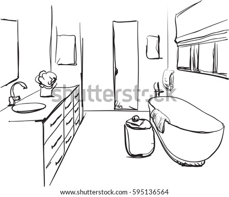 Hand Drawn Bathroom Sketch Washbasin And Other Furniture