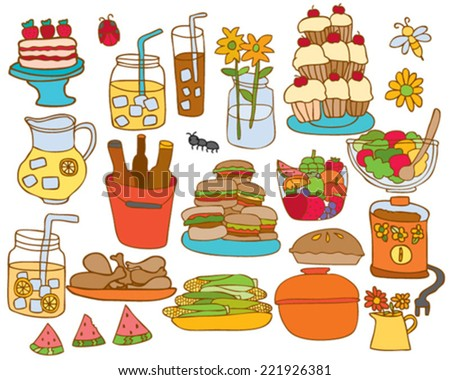 Hand drawn BBQ Picnic Foods - stock vector