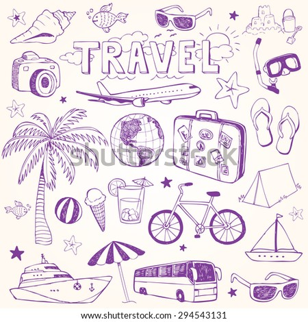 Hand drawn beach and travel doodles vector illustration set
