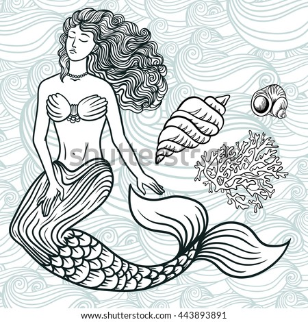 Hand drawn beautiful artwork mermaid with curly hair, algae, barnacles . Sea, fantasy, spirituality, mythology, tattoo art, coloring books. Isolated vector line art doodle illustration. Set of ocean - stock vector