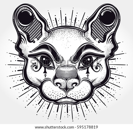 Hand Drawn Beautiful Artwork Of Cat Head Vector Illustration For Coloring Book T