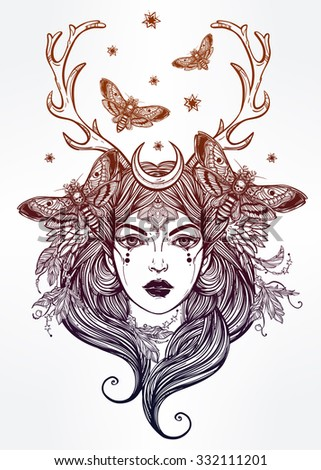 Hand drawn beautiful artwork of female shaman portriat. Alchemy, religion, spirituality, occultism, tattoo art, coloring books. Isolated vector illustration. - stock vector