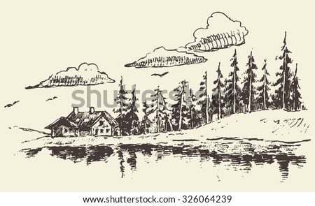 Hand drawn beautiful landscape with lake house and fir forest, vintage vector illustration - stock vector