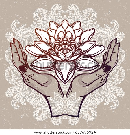 Hand drawn beautiful lotus flower hands stock vector 659695924 hand drawn beautiful lotus flower in hands water lily motif spiritual art for tattoo mightylinksfo