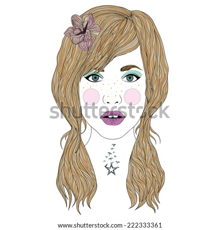 Hand drawn beautiful young girl with star birds tattoo and flower in long hair - stock vector