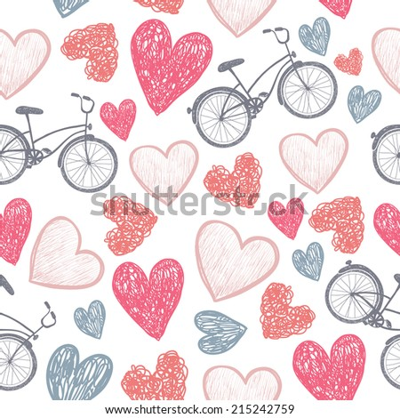 hand drawn bicycle and hearts wedding, valentine, love background, pattern - stock vector