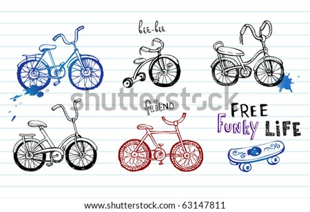 Hand drawn bicycles, set of 5 vector Doodles - stock vector