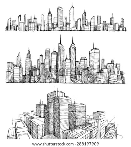 Hand drawn big cities cityscapes and buildings - stock vector
